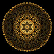 Decorative gold frame with vintage round patterns on black - 图库矢量图片
