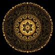Decorative gold frame with vintage round patterns on black - Imagens vectoriais em stock