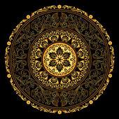 Marco decorativo oro con patrones vintage redondos negro — Vector de stock