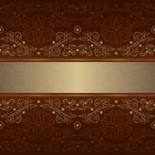 Sjabloon met sierlijke naadloze bloemmotief op een bruine chtergro — Stockvector
