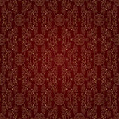 Gold floral vintage seamless pattern on a red background — Stock Vector
