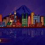 Tokyo city night skyline — Stock Vector #21701835
