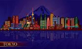 Tokyo city night skyline — Stock Vector