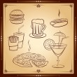 Fast food icon set. Vector illustration. — Stock Vector
