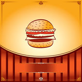 Fast Food Hot Hamburger. Vector graphic Illustration with place for text — Stock Vector