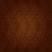 Vintage floral seamless pattern on brown — Stock Vector