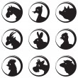 Farm animals and birds vector silhouette icon set — Stock Vector