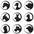Farm animals and birds vector silhouette icon set — Stock Vector
