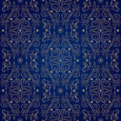 Floral vintage seamless pattern on blue background — Stock Vector