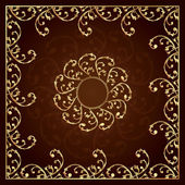 Gold frame with vintage floral elements — Stock Vector