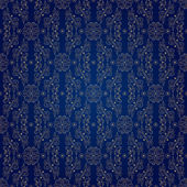 青色の背景にヴィンテージ シームレスな花柄 — ストックベクタ