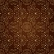 Floral vintage seamless pattern on brown background - Stock Vector