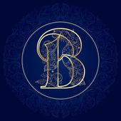 Vintage floral alphabet, letter B — Stock Vector
