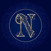 Vintage floral alphabet, letter N — Stock Vector