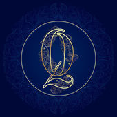 Vintage floral alphabet, letter Q — Stock Vector