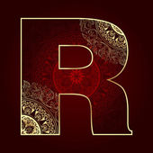 Vintage alphabet with floral swirls, letter R — Stock Vector
