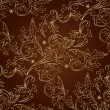 Floral vintage seamless pattern on brown background — Stok Vektör