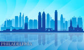 Philadelphia şehir manzarası detaylı siluet — Stok Vektör