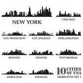 Silhouette city set of USA N1 — Stock Vector