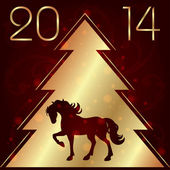 Background with horse silhouette and Christmas tree — Stock Vector