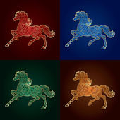 Set of vintage horse silhouette on colored background — Stock Vector