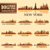 Silhouette city set of USA 1 — Stock Vector