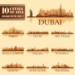 Set of skyline cities silhouettes. 10 cities of Asia 1 — Stock Vector #49004279
