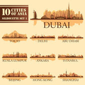 Set of skyline cities silhouettes. 10 cities of Asia 1 — Stock Vector