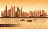 Dubai Marina City skyline silhouette background — Stock Vector