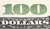 One hundred dollars corner of banknote — Stock Photo