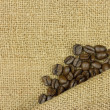 Coffee on sack — Stock Photo