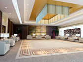 3d large reception room rendering — Stock Photo