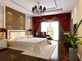 3d bedroom rendering — Stock Photo