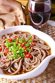 Food in china. buckwheat noodles — Stock Photo