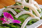 Food in china-- leek fried squid — Stock Photo