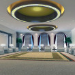 3d reception room rendering - Stock Photo