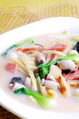 Food in china-- bamboo shoots and squid soup — Stock Photo
