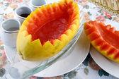 Food in china-- papaya and snow clam — Stock Photo
