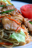 Food in china pork and noodles — Stock Photo