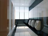 3d public bathroom — 图库照片