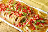 China delicious food--chili squid — Stock Photo