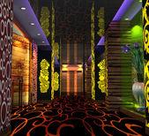 3d 俱乐部大厅、 走廊 — 图库照片