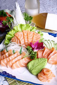 Chinese food- salmon sashimi — 图库照片