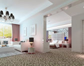 3D deluxe hotel suite interior rendering — Stock Photo