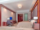 3d bedroom rendering, hotel rooms — Stock Photo