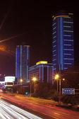 City, light trails — Stock Photo