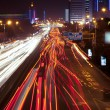 City, light trails - Stock Photo