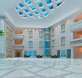 3 d の近代的なホール、廊下 — ストック写真