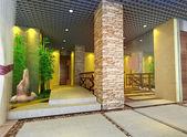 3d futuristisch korridor, hal — Stockfoto