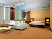 3d bedroom and living-room rendering — Stock Photo